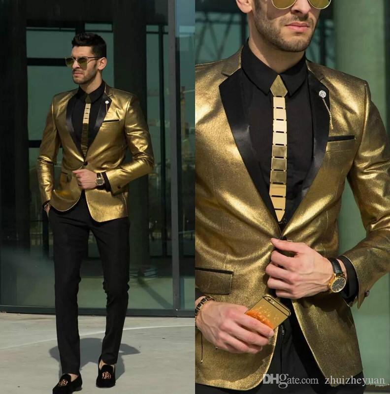 2018 New Shining Gold Wedding Suits for Men Cheap Tuxedos Slim Fit Bridegroom Wear Best Mens Suits Custom MadeJacket+Pant