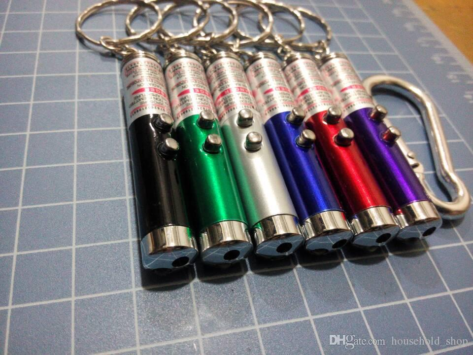 DHL Red Laser Pointer Pen Key Ring com LED branco Show de luzes portátil infravermelho Vara Gatos engraçados Pet Toys Atacado