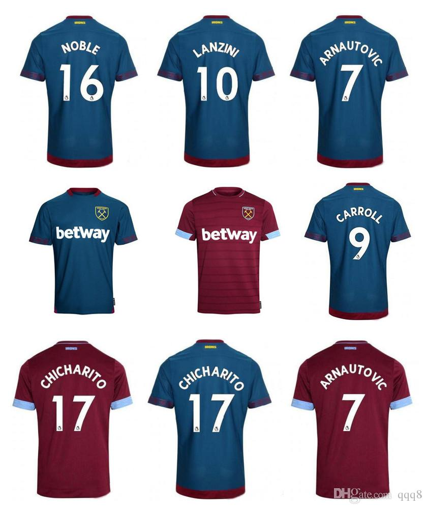 c2275bd59 18 19 West Ham Soccer Jersey CHICHARITO ARNAUTOVIC Carroll WILSHERE  Football Shirt 2018 2019 WestHam United Camiseta Futbol Lanzini Maillo Soccer  Uniform ...
