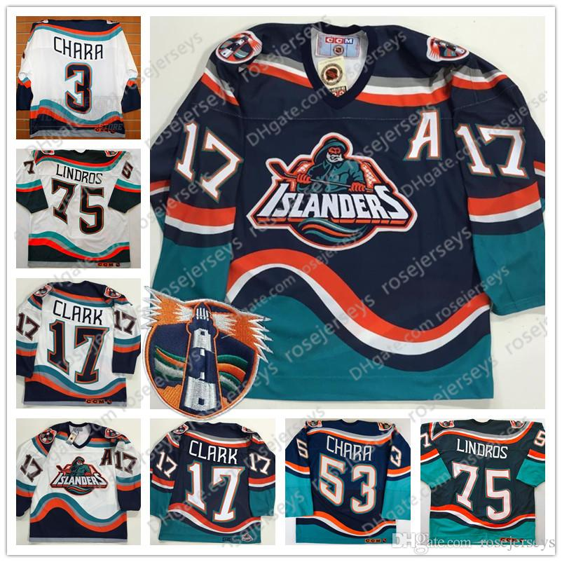 6910fefdf 2019 New York Islanders Fisherman  17 Wendel Clark 3 53 Zdeno Chara 75  Brett Lindros Vintage Hockey Navy Blue White Stitched Retro Jerseys S 4XL  From ...