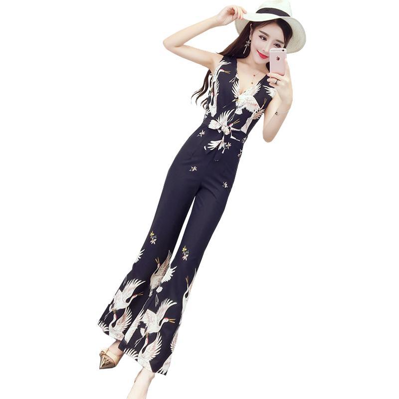 965c03e1bd Flower Print Women Fashion Jumpsuit Elegant 2018 New Women Deep V ...