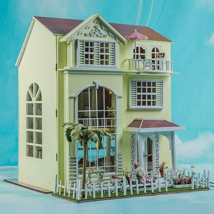 Happy Home Large scale DIY Doll house 3D Miniature Lights Wood Handmade  kits Building model Play house toy Home Decoration BJD