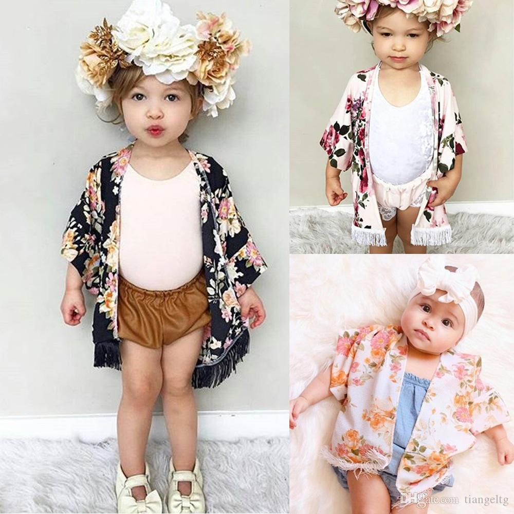 4fb4898e84c1 Baby Girls Caps Poncho With Tassels Black Pink Floral Printed Half ...