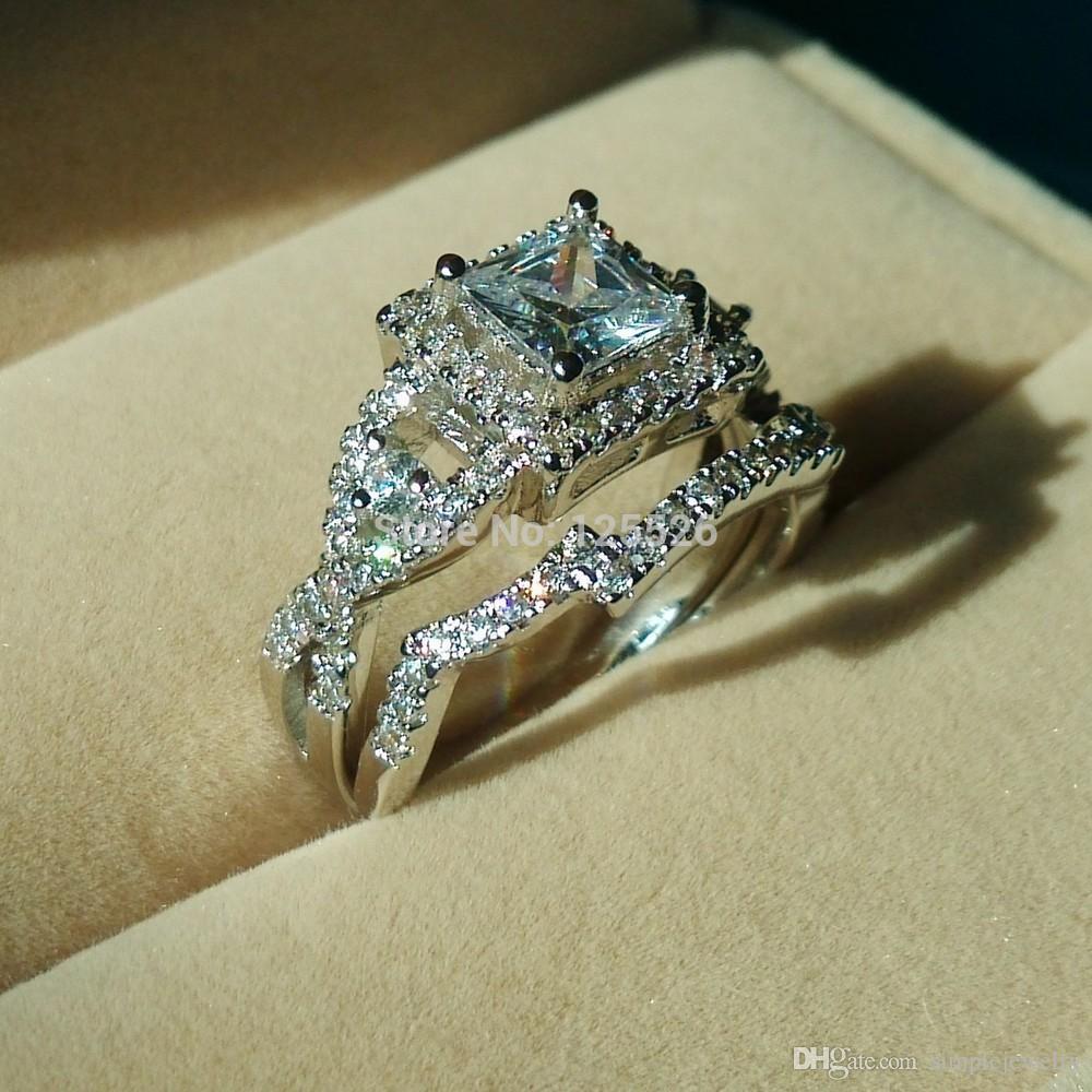 Choucong Pedra Nobre 5A Zircon pedra 925 Cruz de Prata anel de Noivado Wedding Band Set Sz 5-10 Presente frete grátis