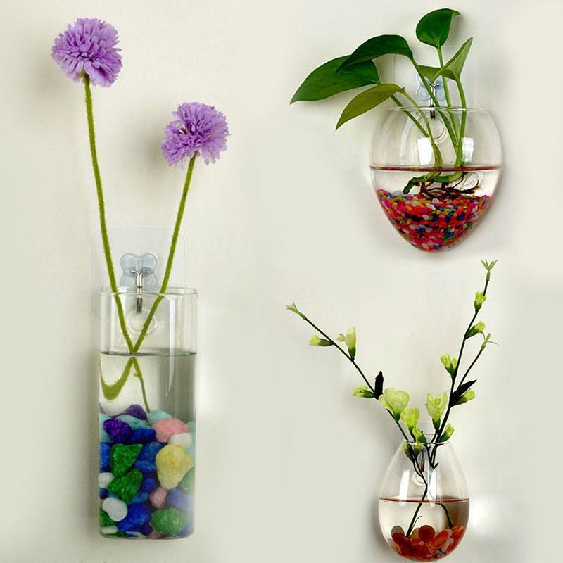 Wall Glass Terrarium Water Plants Clear Indoor Hanging Vase Home