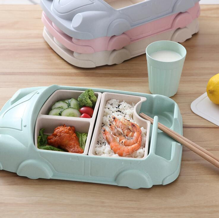 Cartoon Car Dinnerware Set ood Containers Bamboo Fiber Infant Training Dishes Baby feeding Set Bowl Cup Plates Sets OOA5754