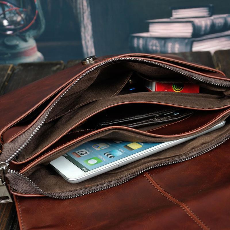 borsa degli uomini di cuoio di disegno di marca famosa di vendita calda, borsa messenger degli uomini di cuoio casuale di affari, sacchetto trasversale del corpo degli uomini di modo dell'annata