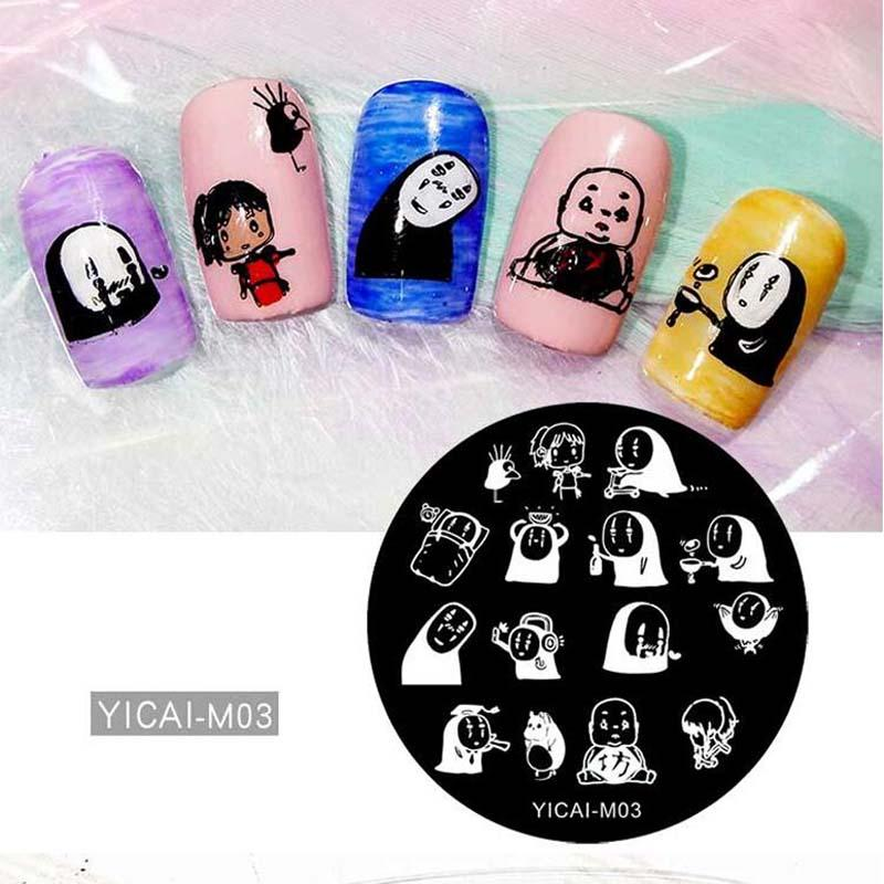 1 Pc Cartoon 5.5cm Round Nail Art Stamp Image Plate Cartoon Girl Pattern Stamping Plate DIY Nail Template Stamping Tools