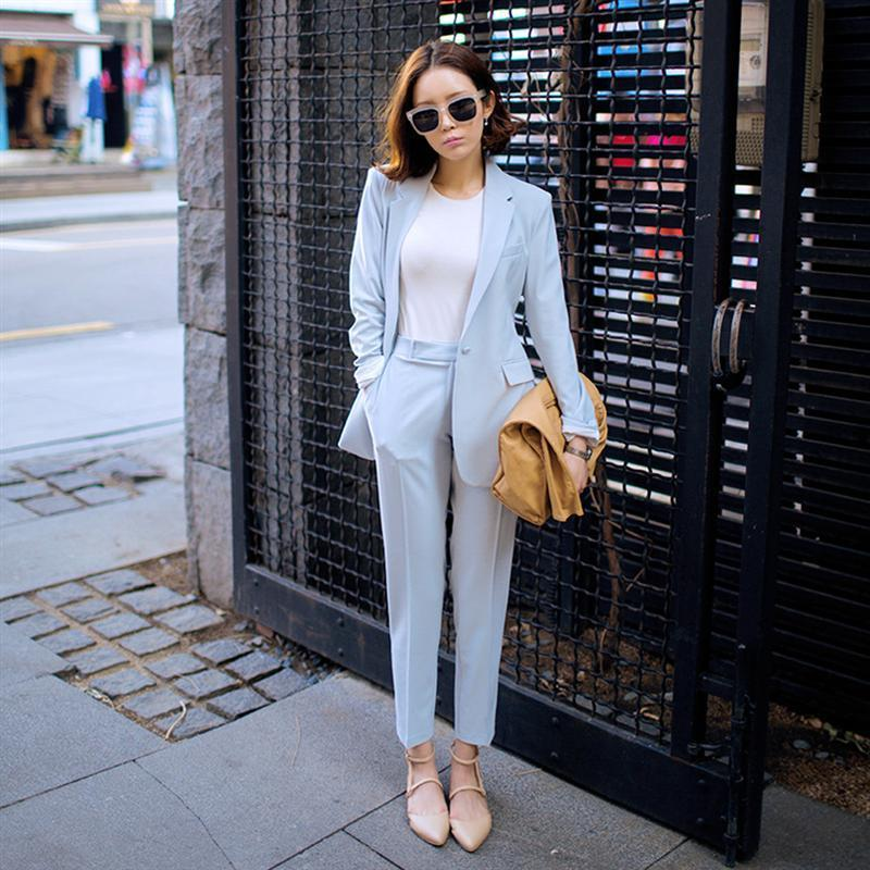 2017 Spring Newon Fashion Traje de ocio para mujer Soild Color Suit Jacket y Harlan Pants Light Blue Twinset