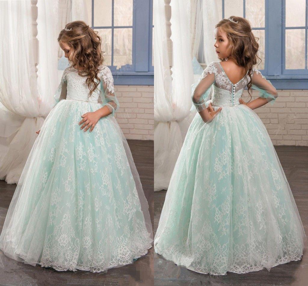 2018 Romantic Mint Flower Girls Dresses For Weddings Lace Poet 3/4 ...