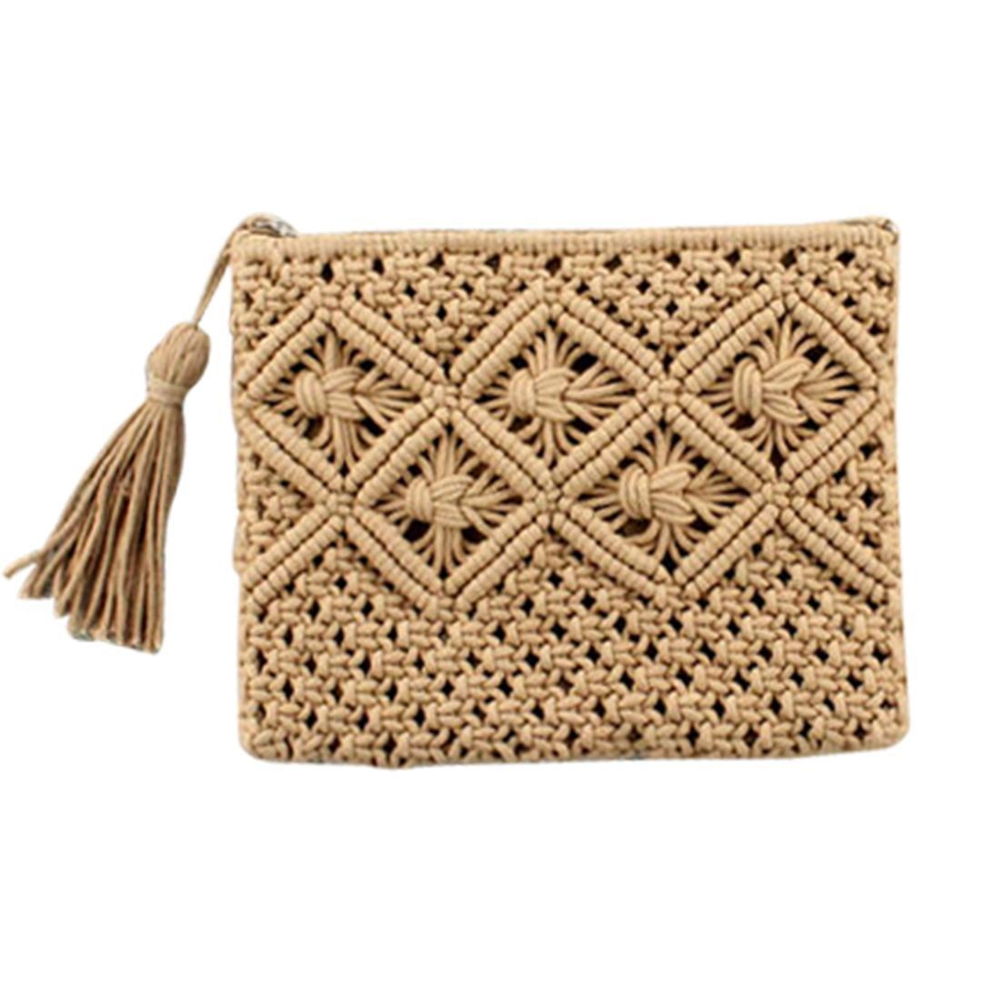 Drop Shipping 5 Color Women Bags Fashion Handmade Braided Handbag With Tassel Design Woven Clutch Soft Cloth For Female Teenager