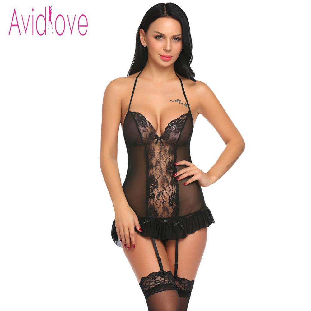 cf07ea44da784 Avidlove Women Sexy Lingerie Underwear Transparent Costumes Garter Sexy  Lingerie Bustier Set With Belts G String Lenceria Femeni Y1892810 Womens  Satin ...