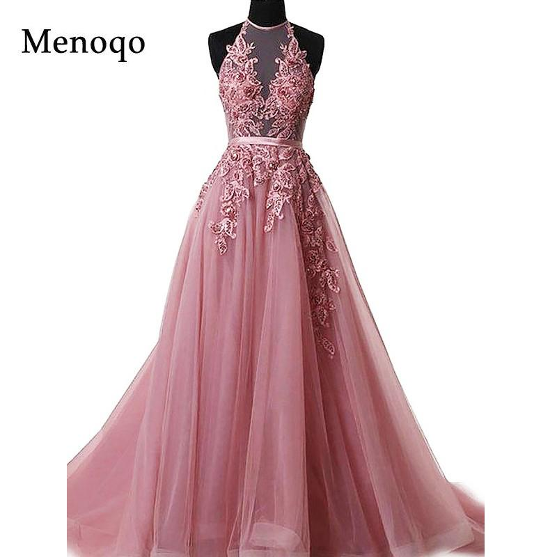 2a65283f0b 2019 Robe De Soiree Appliques Sexy Backless Long Evening Dresses Bride  Banquet Elegant Floor Length Women S Party Prom Dress Halter C18103001 From  Tong04