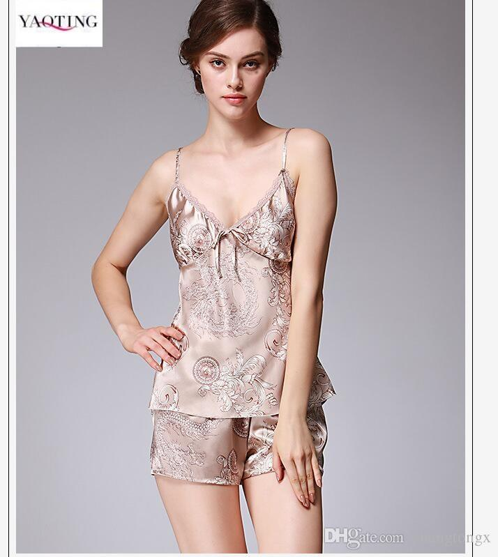a5f5b1876b 2019 YAO TING Brand Anti Real Silk Women S Pajamas Suit Elegant Sling Sexy  Lace Lady Summer Sleepwear Soft Comfortable Shorts Two Pajamas Suit From ...