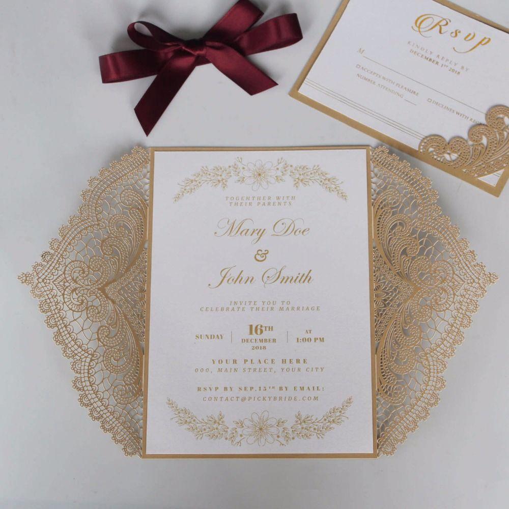 Großhandel goldene spitze hochzeit einladungen druckbare einladungskarten mit rsvp karten set von 50 stück von tengdingwedding 135 06 auf de dhgate