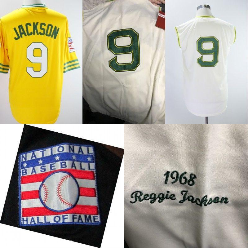 promo code 01eac 9dfa2 9 Reggie Jackson A s 1968 Begie Sleeveless Retro Green HOF Hall of Fame VTG  Baseball Jersey