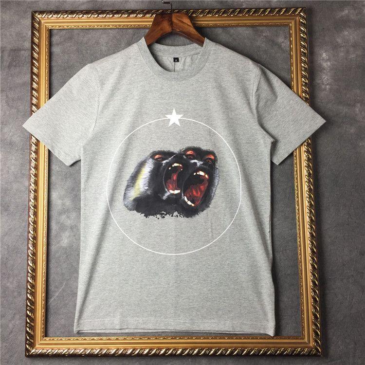 2019 nouveaux hommes d'été marque Designer t-shirt vêtements t-shirt manches courtes Roar orang-outan singe cercle star tshirt unsex tee coton hauts