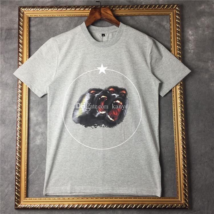 2019 nuevos hombres del verano diseñador de la marca camiseta de la ropa de manga corta camiseta Roar orangutan mono círculo estrella camiseta unsex camiseta de algodón tops