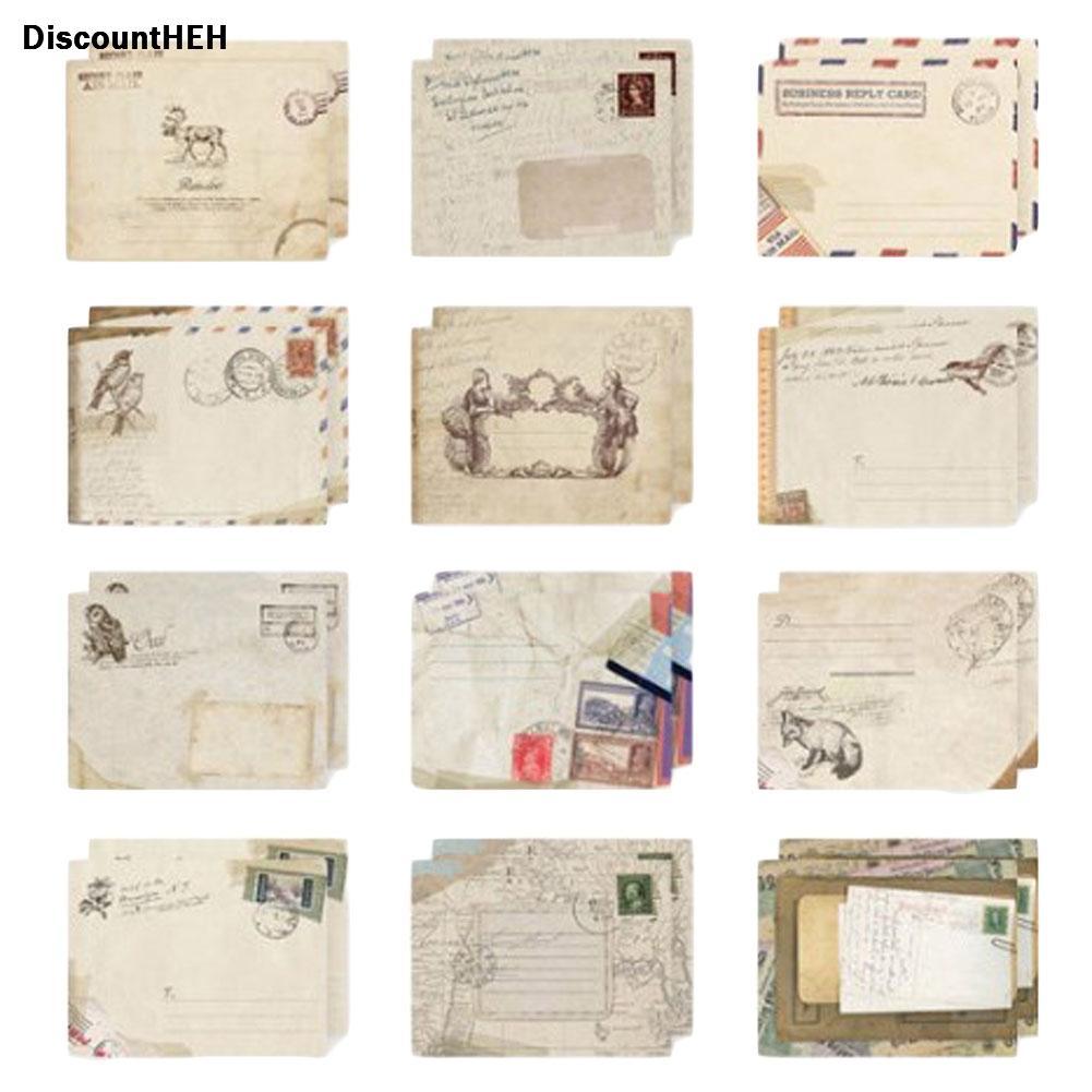 Acheter Set Vintage Petit Mini Kraft Enveloppes Fenêtre En Papier