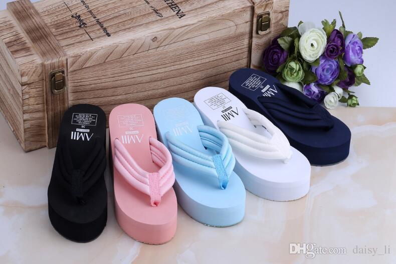 Meninas chinelos chinelo marca sapato 2018 mulheres chinelos de verão engrossar muffin sandálias de fundo de cunha calcanhar sapatos em casa # 33