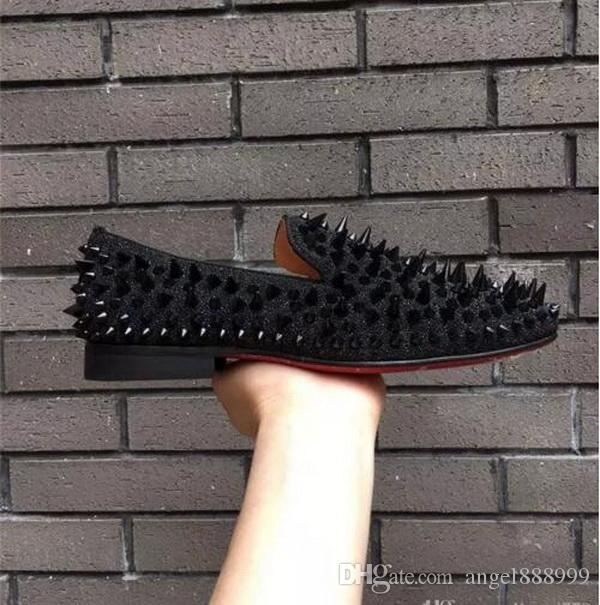 2018 NEW Mens Loafers Red Bottom Shoes Black Spikes Studded Rivets Men Dress Shoes Good Quality Red Sole Shoes Men Women