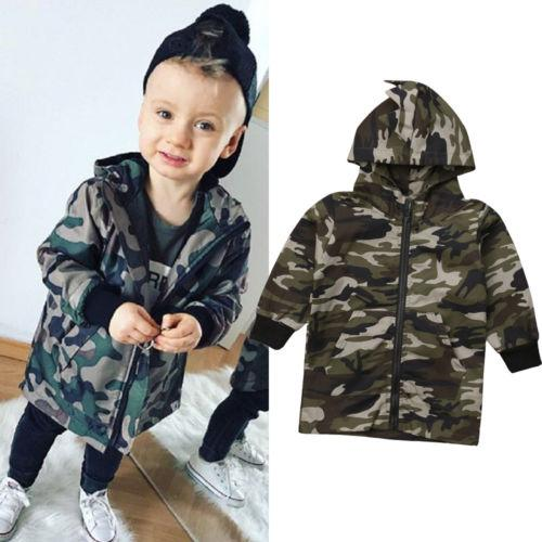 f5a98ee93 2018 New Toddler Camo Jacket Dinosaur Coat Baby Boy Camouflage Zipper Coat  Top Hooded Cotton Outwear Winter Autumn Children Winter Jackets For Toddler  Boys ...