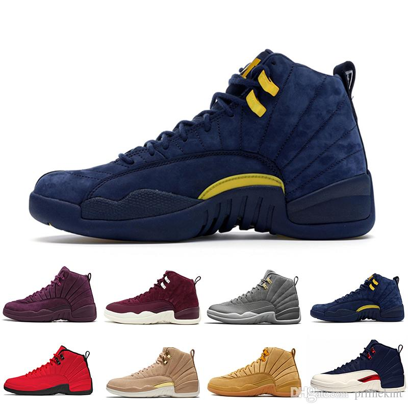085e708307eae9 New Cheap 12 Bordeaux Dark Grey Wool Basketball Shoes White Flu Game UNC  Gym Red Taxi Gamma French Blue Suede Sneaker US5.5 13 Loafers For Men Mens  Loafers ...