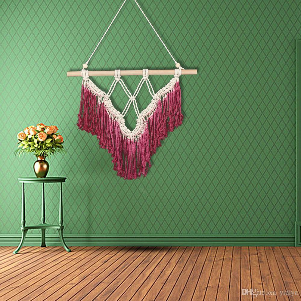 572afb1a0e3a Colgante macrame tapicería bohemia hecha a mano de algodón borla de tejer  colgante regalos decoración de la puerta de la pared del hogar Textiles ...