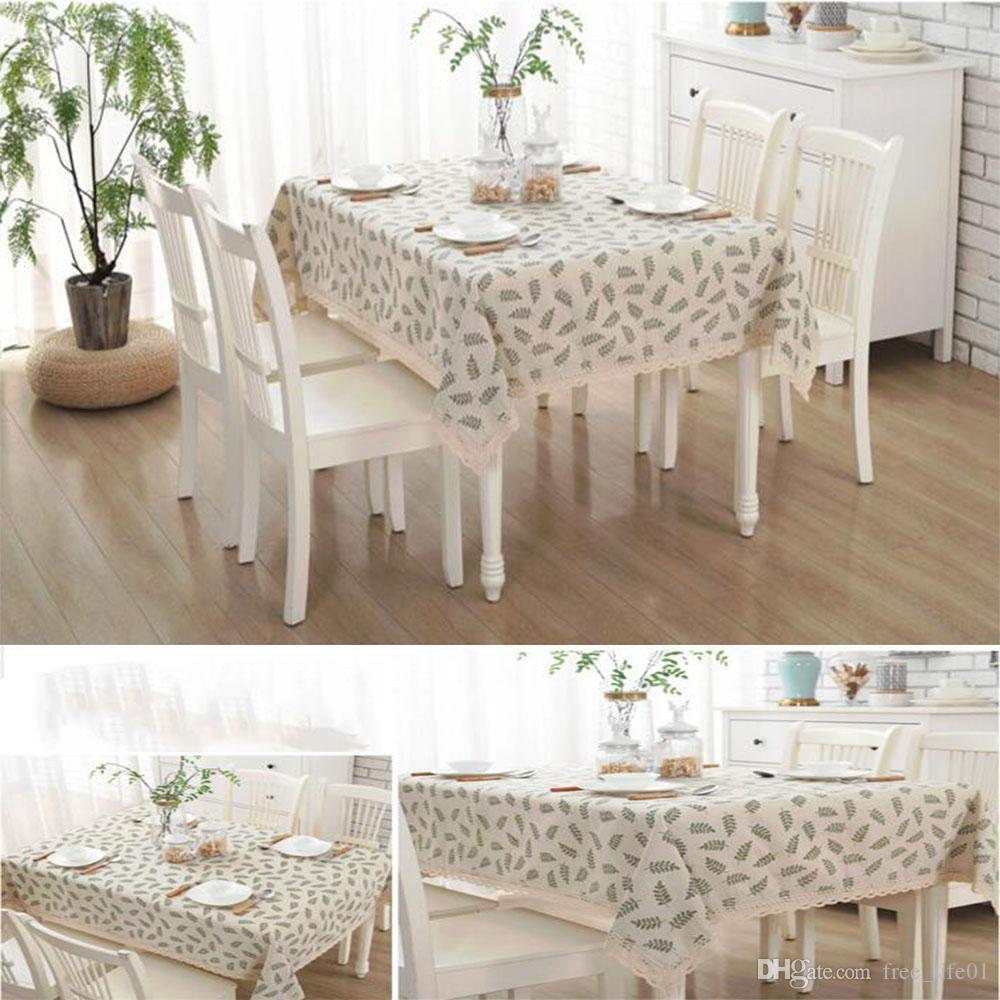 Upgraded Waterproof Tablecloth Cotton And Linen Dinner Table Cloth With  Lace Fern Leaves Art Home Decoration Solid Grid Table Cover Linen  Tablecloths Fitted ...