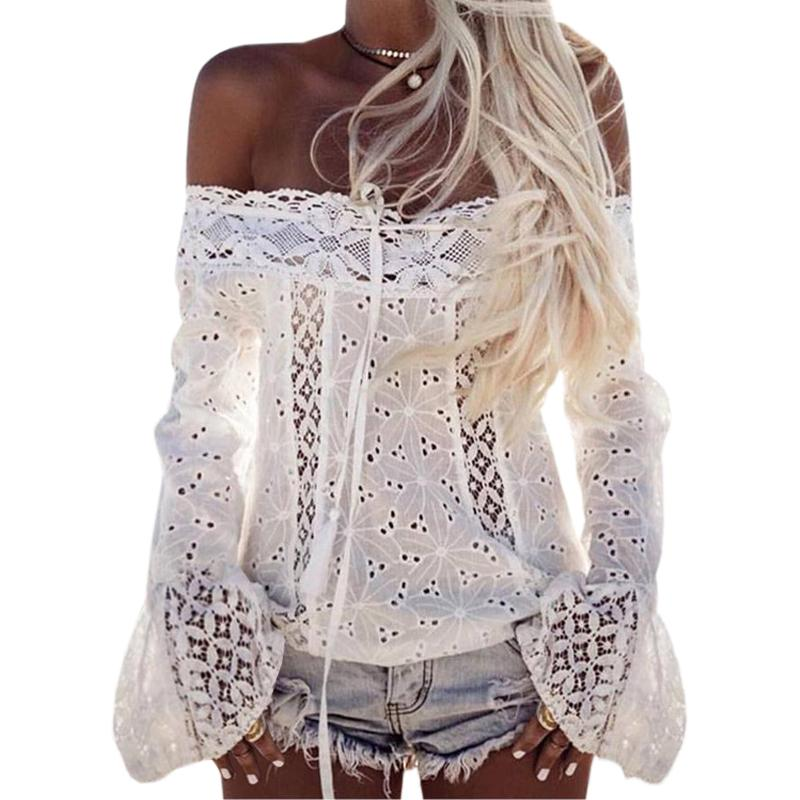 0a8c08b042f996 2019 2019 Lace Blusas Women Long Flare Sleeve Slash Neck Shirts Summer Sexy  Cut Out Blouse Casual Off Shoulder Tops White Blusa GV623 From Jamie01, ...