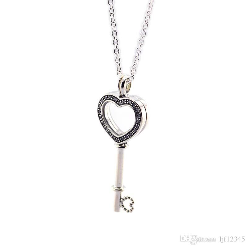 Valentine's Day Floating Locket Heart Key Necklace 925 Sterling Silver Jewelry Necklace & Pendant For Woman European Jewelry Making