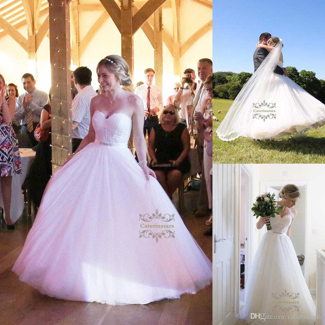 Luxurious Tulle Sweetheart Ball Gown Wedding Dress With French Lace ...