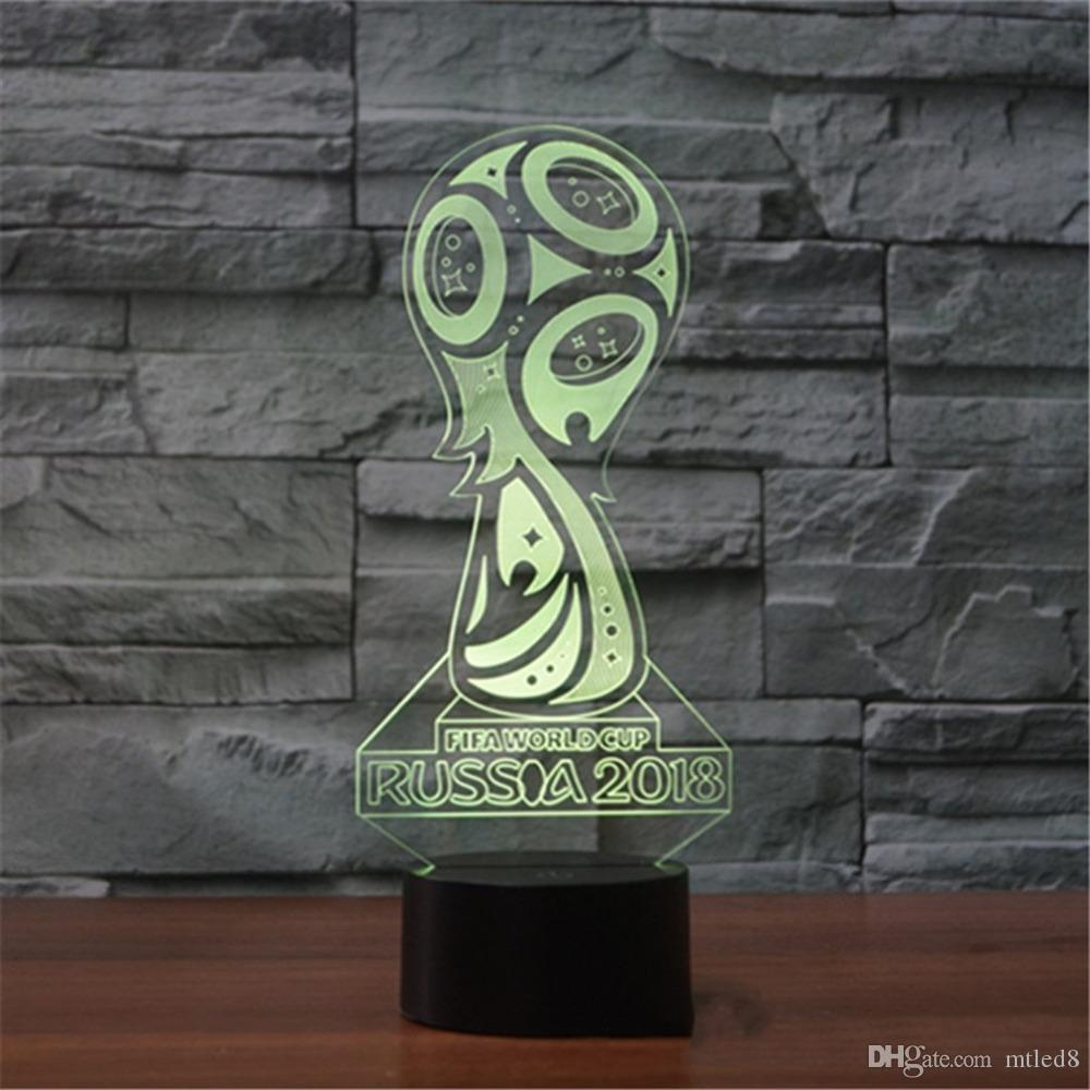 2018 LED Visual Light World Cup Logo Touch Table Lamp Changing Desk Lamp 3D Lamp LED Night Light Football LED Light