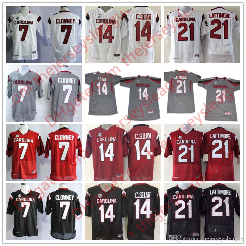 9a135b50a 2019 NCAA South Carolina Gamecocks  7 Jadeveon Clowney 14 Connor Shaw 21  Marcus Lattimore Black Red White Gray Stitched College Jerseys S 3XL From  ...