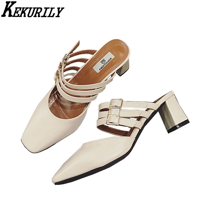 4ff240e772c01 Woman Shoes Closed Toe Slippers Belt Buckle Med Heels Slides Ladies Mules  Slip On Sandals Summer Zapatos Mujer Black Apricot Red Shoes Moon Boots  From ...
