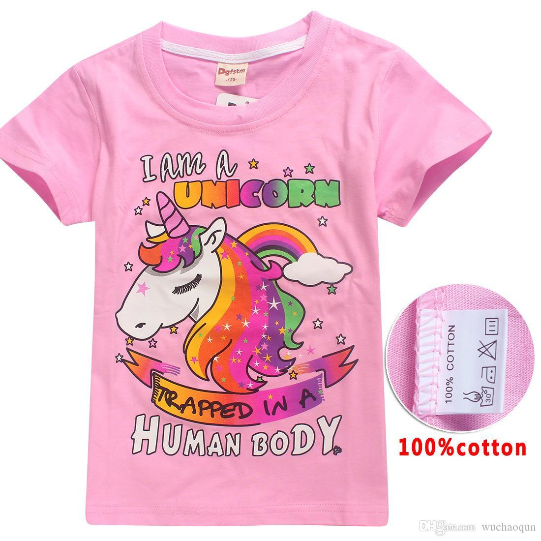 5 farbe ins unicorn mädchen t-shirt 2018 neue kinder mode baumwolle kurzarm t-shirt baby kinder kleidung für 6 ~ 14 jahre