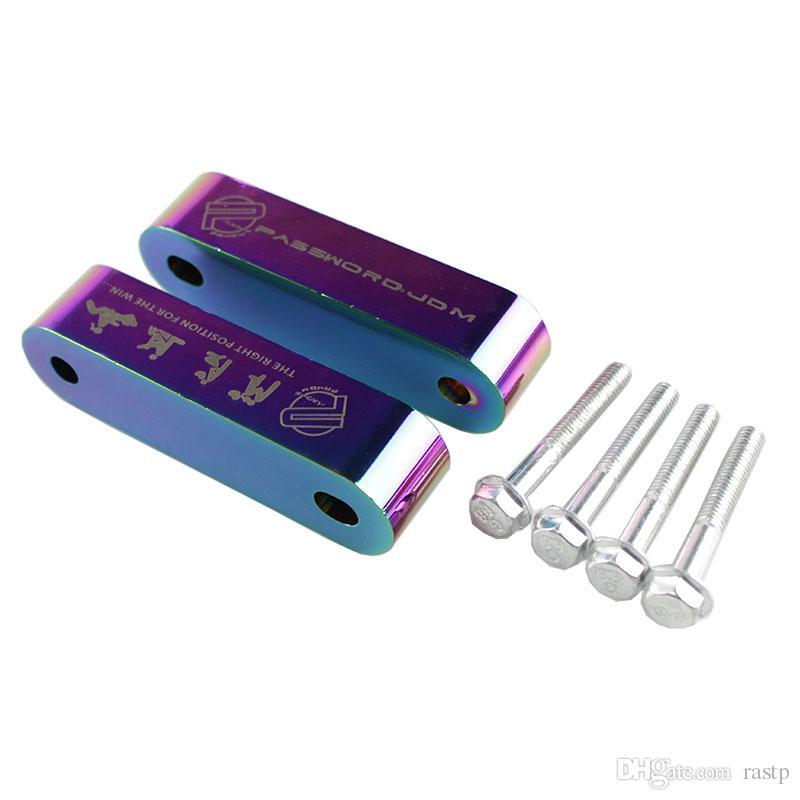 RASTP - 4 개 펜더 와셔 로고 RS3-HR001와 혼다 JDM 빌릿 알루미늄 후드 스페이서 라이저 세트에 대한