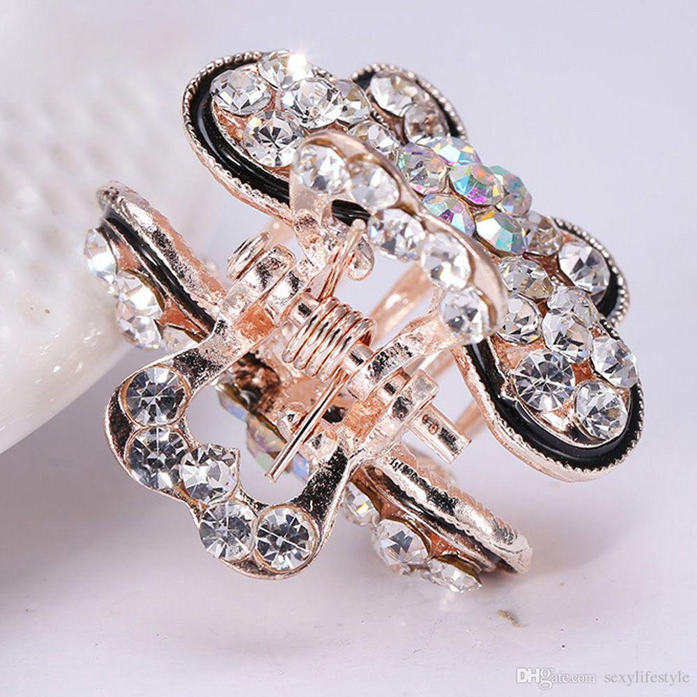 2 Unids / set Mujeres Retro Vintage Rhinestone de Cristal Mini Mariposa Corona Horquillas Horquillas Para el Cabello Pinzas de Pelo Barrettes Accesorios Para el Cabello