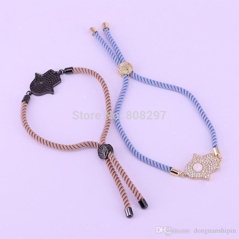 CZ Micro Pave Zirconia Hamsa Hand Connector Bracelet With 10'' Adjustable Cotton Rope Chain