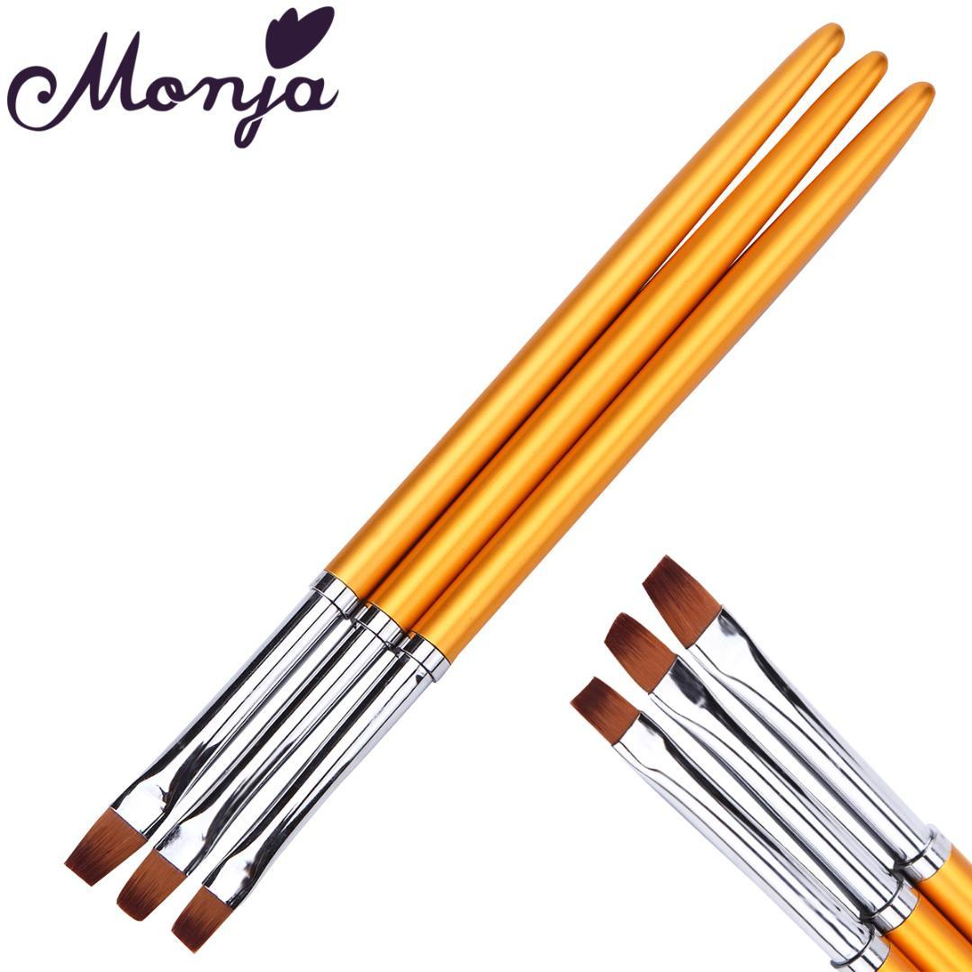 3 Size Nail Art Gold Flat Top Paint Brush Set Acrylic Gel Polish Extension  Varnish 3D French Line Grid Flower DIY Image Draw Pen