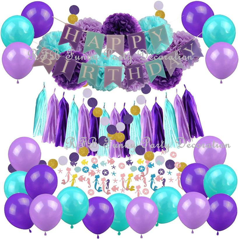 2019 Mermaid Theme Birthday Decorations Confetti Balloon Garland Boy Girl Happy Banner Baby Shower Kids Party Supplies From Youergarden