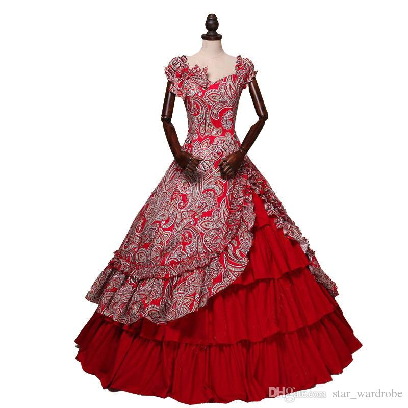 39617fd60a9 Medieval Period Gothic Victorian Party Dresses Off The Shoulder Red Floral  Pattern Southern Belle Ball Gowns Customized Black Women Clothing Women  Black ...