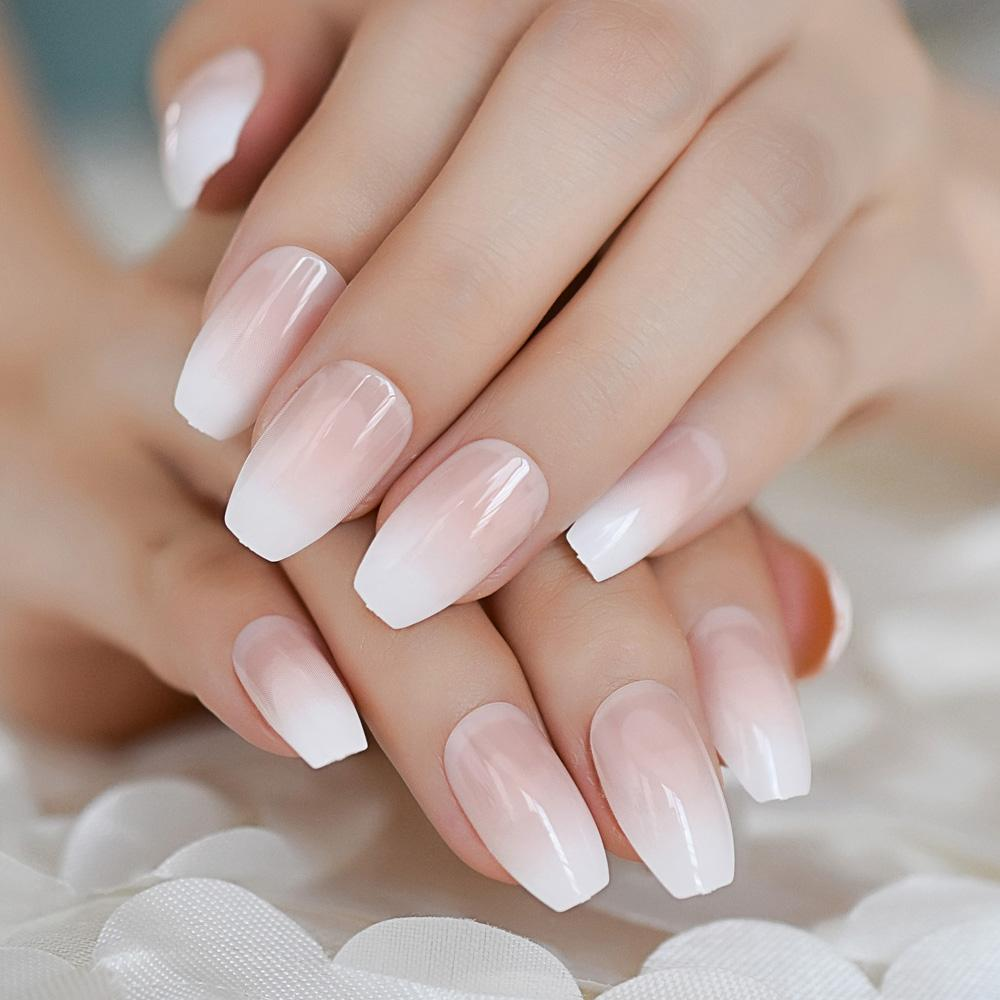 Nude Color Gradient Coffin False Nail Classic Simple Design French