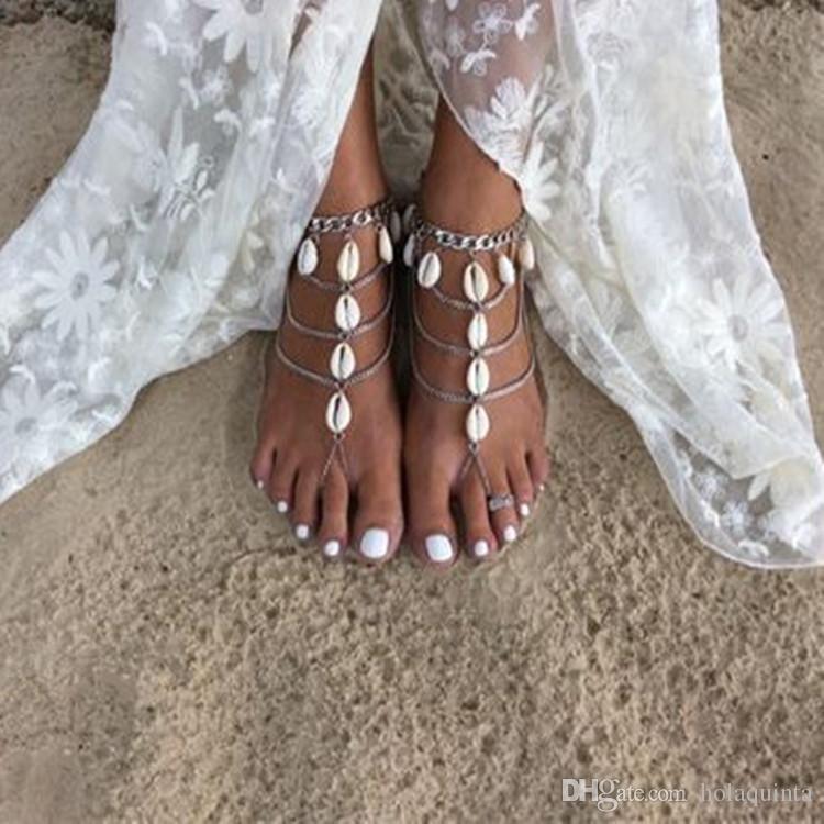 2018 Shell Tassel Anklet For Women Ankle Bracelet Silver Foot Chain
