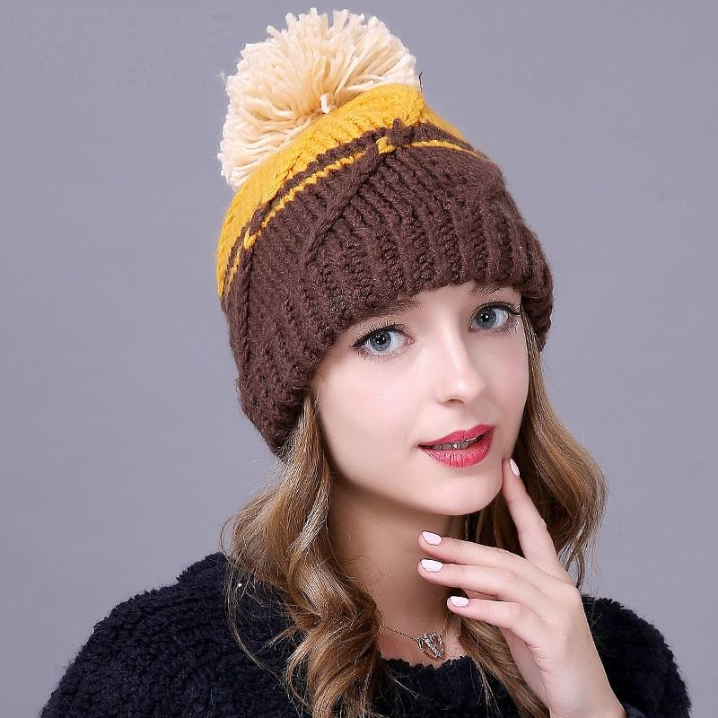 7ee64f25561 Women S Knitted Pompom Hat Female Autumn Winter Knitted Cap Students Warm  Woolen Caps Hair Ball And Warm Ear Cap B 8644 Beach Hats Beanie Hats For  Men From ...