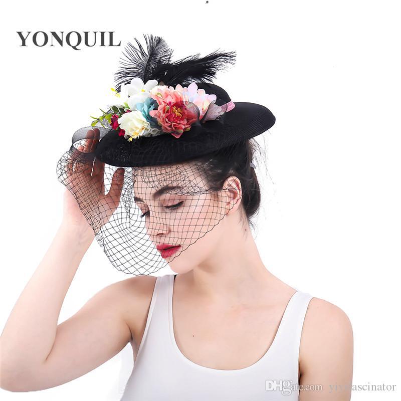 Ivory Black Chapeau Caps Bridal Hats Veil Wedding Fascinators Ladies  Elegant Fashion Bow Headwear Female Kenducky Race Headpiece SYF320 Mother  Of The Groom ... f16030081a1b