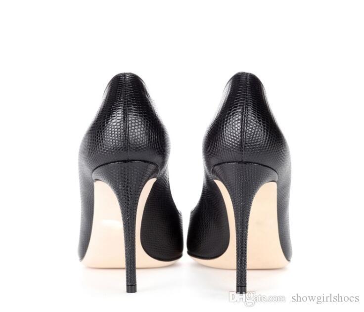 أسود فو الأفعى الجلد أحذية عالية الكعب النساء بلينغ رصع كريستال الزفاف أحذية الزفاف مثير أشار تو المرأة مضخات