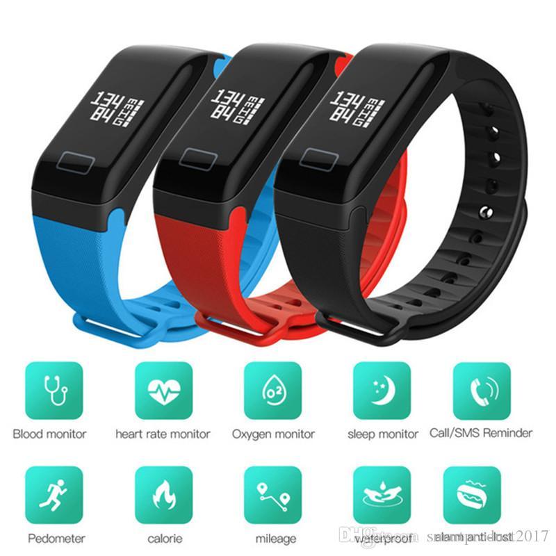 45b50f7415f5 F1 Pulsera inteligente Podómetro Banda inteligente Monitor de ritmo  cardíaco Pulsómetro Relojes inteligentes Medición de la presión arterial ...