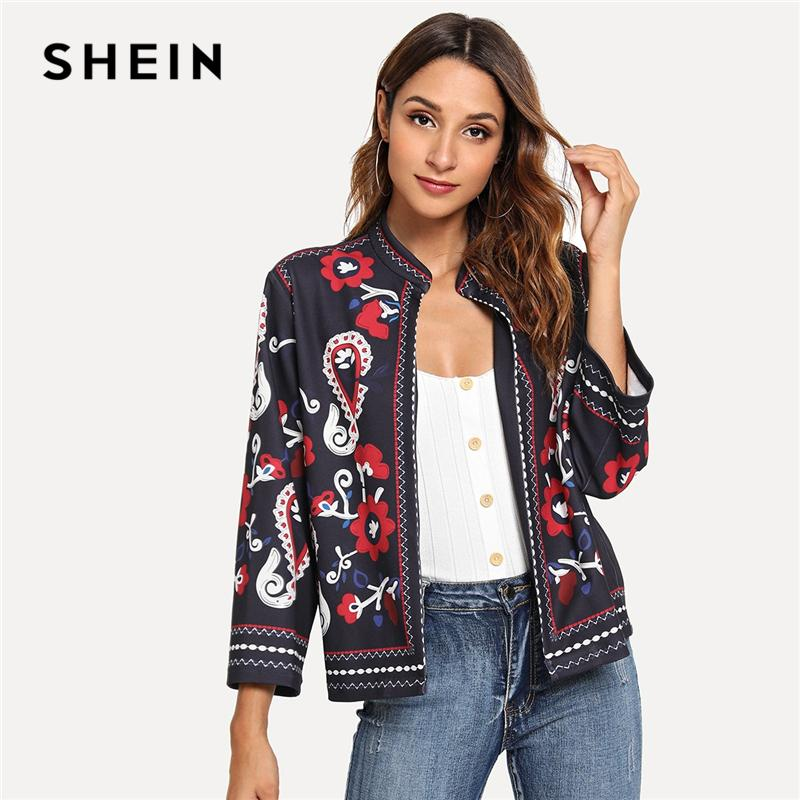 6a3a6c490b SHEIN Multicolor Ornate Print Coat Floral Geometric Casual Stand Collar Long  Sleeve Outerwear Women Autumn Streetwear Coats Down Jacket Womens Leather  ...