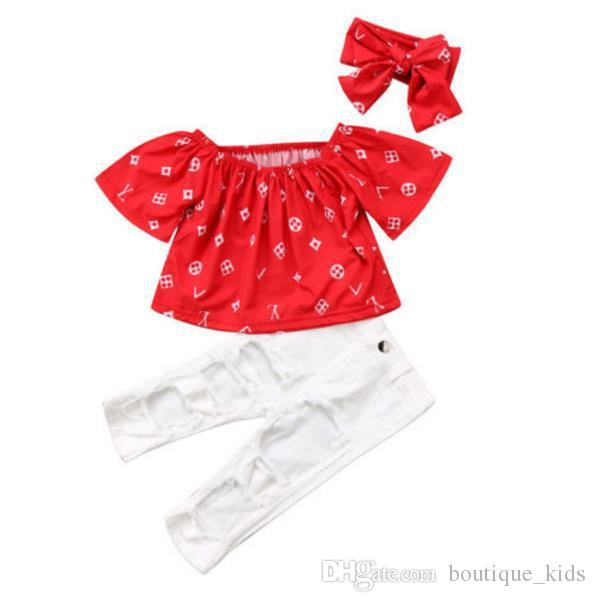 564577972a436e Fashion Baby Girl Clothes Short Sleeve Off Shoulder Red Tops +White ...